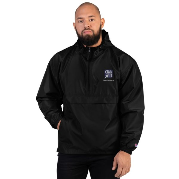 embroidered champion packable jacket black front 60edcc96b110b