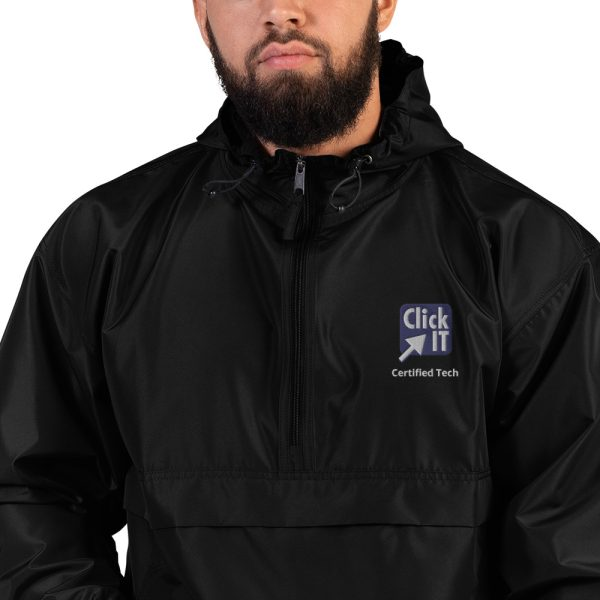 embroidered champion packable jacket black zoomed in 60edcc96b0fc0
